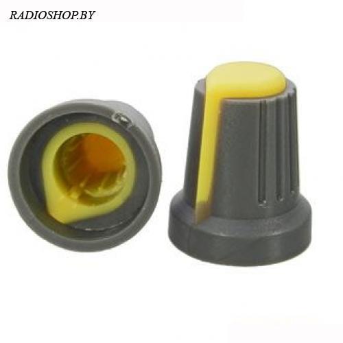 Ручка приборная RR4817 Желтый (посадка:6мм,КРУГ; юбка d=14,5мм)