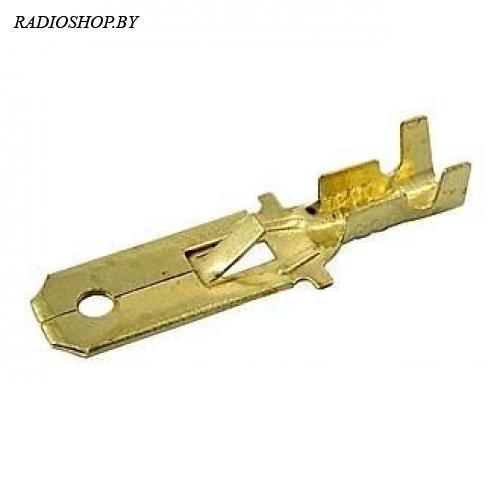 DJ611-6.3A (папа) ширина 6,3 мм крепление на провод. Цвет - золото. Клемма ножевая неизолированная