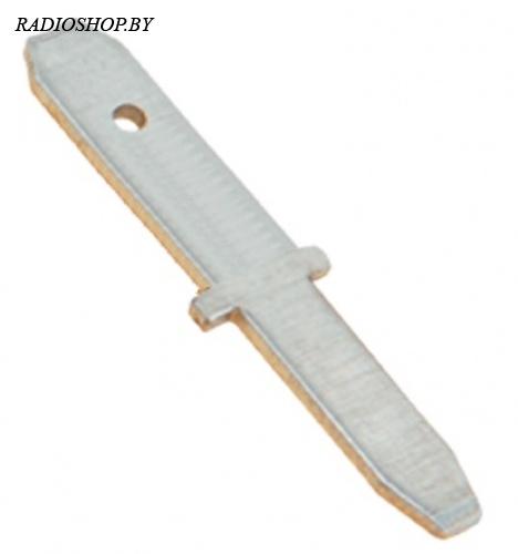DJ625-2.8 (папа) ширина 2,8 мм крепление на плату в отверстие. Клемма ножевая неизолированная