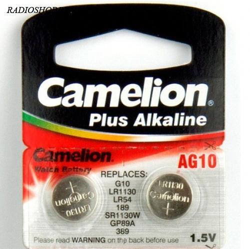 Батарейка AG10/LR1130/SR1130W/GP89A 1.5V Camelion