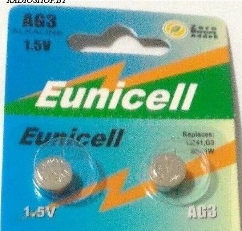 Батарейка AG3/LR41/G3/SR41W/GP92A 1.5V Eunicell