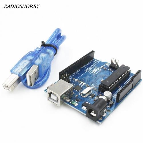 Arduino Uno R3 (ATMEGA328P U) программатор с USB-кабелем