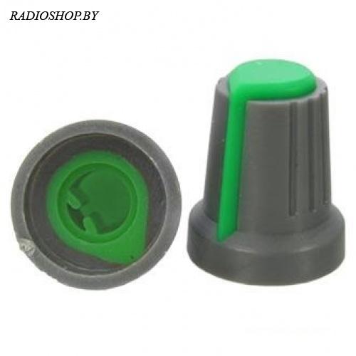 RR4817 Зеленый (посадка:6мм,ПОЛУКРУГ; юбка d=14,5мм) ручка приборная