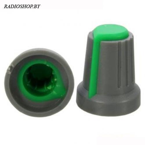 Ручка приборная RR4817 Зеленый (посадка:6мм,КРУГ; юбка d=14,5мм